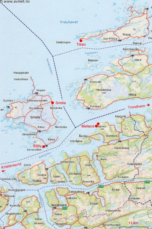 10 Carte Kristiansund Trondheim